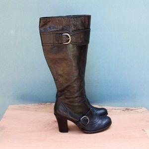 Born Alika Leather Stacked Heel Winter Boots Sz 8